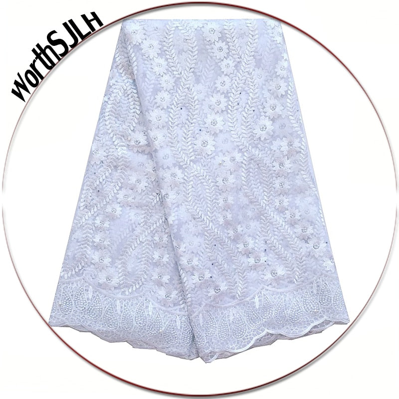 WorthSJLH Latest Wedding White Lace Fabric Nigerian Lace Fabric 2018 High Quality Lace Royal Blue Mesh French Lace Net Fabric