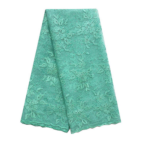 Image of WorthSJLH Nigerian Embroidered Net Fabric Lace Material Orange Teal Green French African Lace Fabric 2018 High Quality Lace