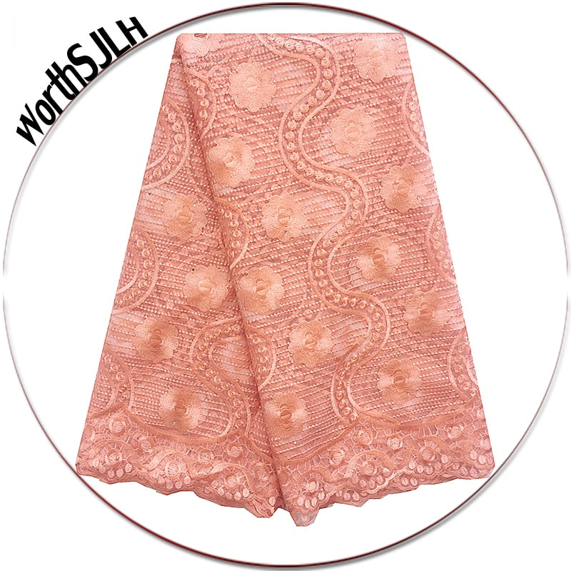 WorthSJLH Nigerian Peach Lace Fabric African Lace Fabric 2018 High Quality Lace Beaded French Lace Fabric For Wedding Dress