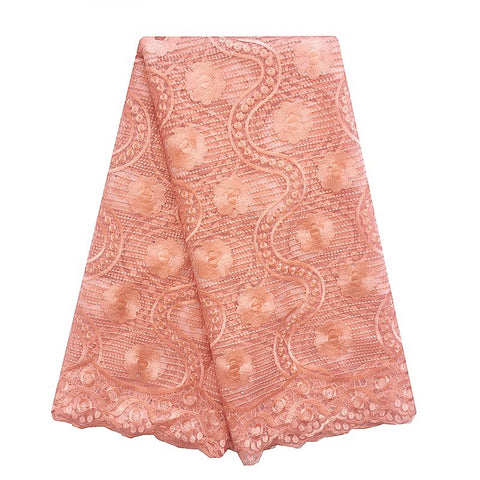 Image of WorthSJLH Nigerian Peach Lace Fabric African Lace Fabric 2018 High Quality Lace Beaded French Lace Fabric For Wedding Dress