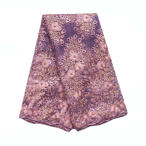 Image of WorthSJLH Swiss African Lace Fabric For Wedding Dress Indian Lace Fabric Lilac Latest Tulle French Lace Fabric With Beads 2019