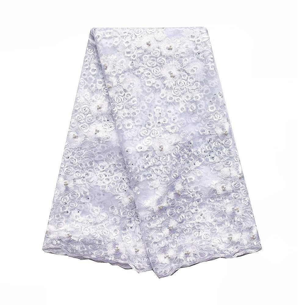 WorthSJLH Swiss African Lace Fabric For Wedding Dress Indian Lace Fabric Lilac Latest Tulle French Lace Fabric With Beads 2019
