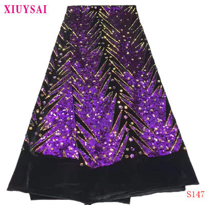 Image of XIUYSAI 2020 African Sequins Lace Fabric High Quality Nigerian French Lace for Party Embroidery Swiss Voile Lace