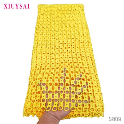 XIUYSAI African Guipure Cord Lace Fabric Fashion Nigerian Water Soluble Cord Laces Embroidery French Laces For Party Dress SL809
