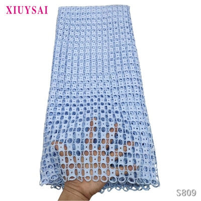 Image of XIUYSAI African Guipure Cord Lace Fabric Fashion Nigerian Water Soluble Cord Laces Embroidery French Laces For Party Dress SL809