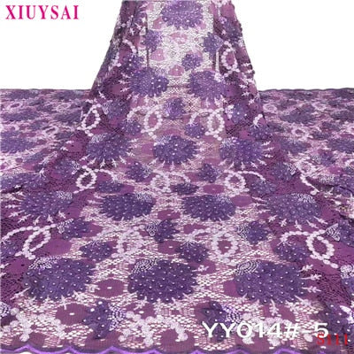 XIUYSAI African Sequence Fabrics for Bridal Materials Lace High Quality Sequin Lace Fabric Nigerian Mesh Net Lace Sequins Fabric
