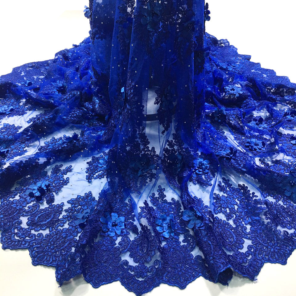 african lace fabric with 3D flower and beads 2018 latest Royal blue lace fabric high quality 3d lace fabric for wedding M2608