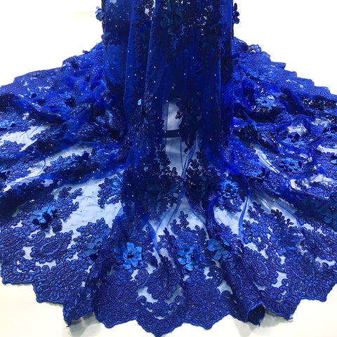 Image of african lace fabric with 3D flower and beads 2018 latest Royal blue lace fabric high quality 3d lace fabric for wedding M2608