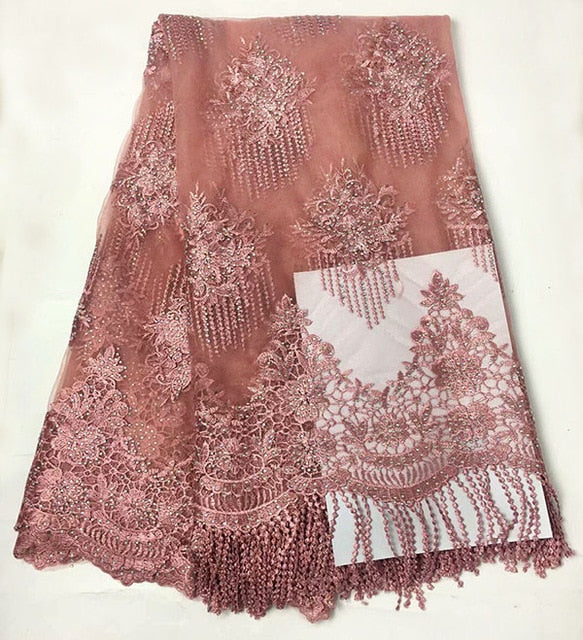 african lace fabric with 3D flower and beads 2018 latest pink lace fabric high quality 3d lace fabric for wedding