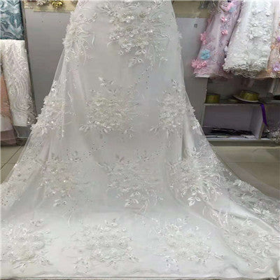 Image of african lace fabric with 3D flower and beads sequins 2018 latest white lace fabric high quality 3d lace fabric for weddingH1212