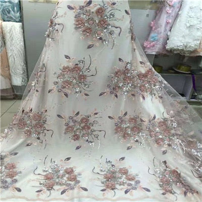 african lace fabric with 3D flower and beads sequins 2018 latest white lace fabric high quality 3d lace fabric for weddingH1212