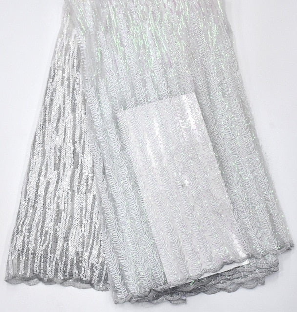 african net lace fabric Pretty embroidered tulle mesh lace fabric with sequins white