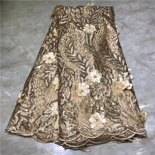 beautiful 3D flowers design 5yards african net tulle lace fabric with sequins for women party dress good quality  NLYAU152