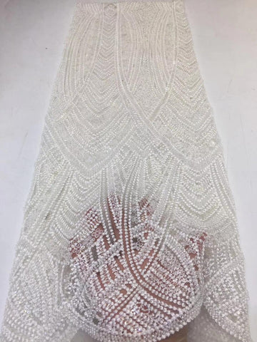 Image of beautiful organza lace fabric high quality african net tulle lace fabric fashion style nice look beads tube design     ZXNO225