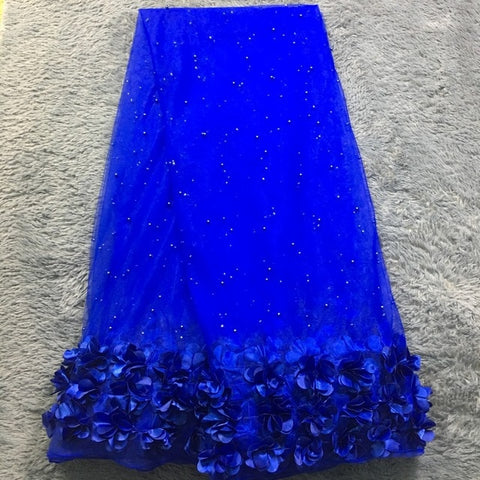 Image of blue 3d lace fabric for wedding dresses 2020 new 5yard african lace fabric high quality french net lace with 3d flower SH10522