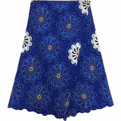 blue African laces Fabrics with stones Swiss Voile Lace high quality dry lace embroidery fabrics for women dress 5yards/lot