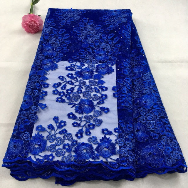 blue african lace fabrics 5yard white guipure lace fabric 2018 high quality african cord lace fabric for wedding dresses K-HX02X