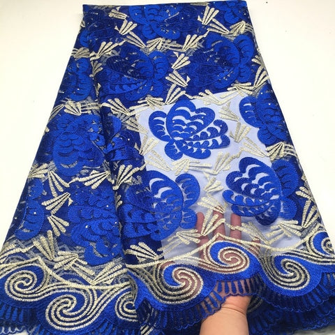 Image of blue african lace fabrics 5yard white guipure lace fabric 2018 high quality african cord lace fabric for wedding dresses K-HX02X