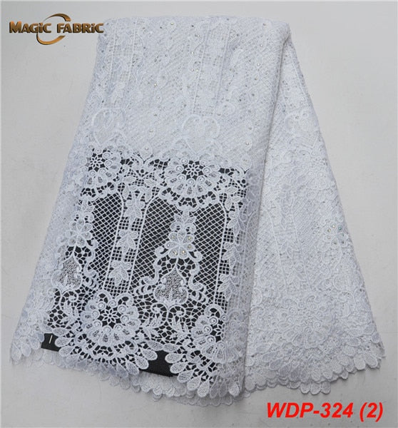 floral girl wedding water soluble lace high quality africa guipure cord chemical lace fabric with beads WDP-324