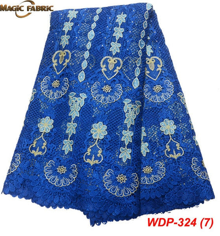 Image of floral girl wedding water soluble lace high quality africa guipure cord chemical lace fabric with beads WDP-324