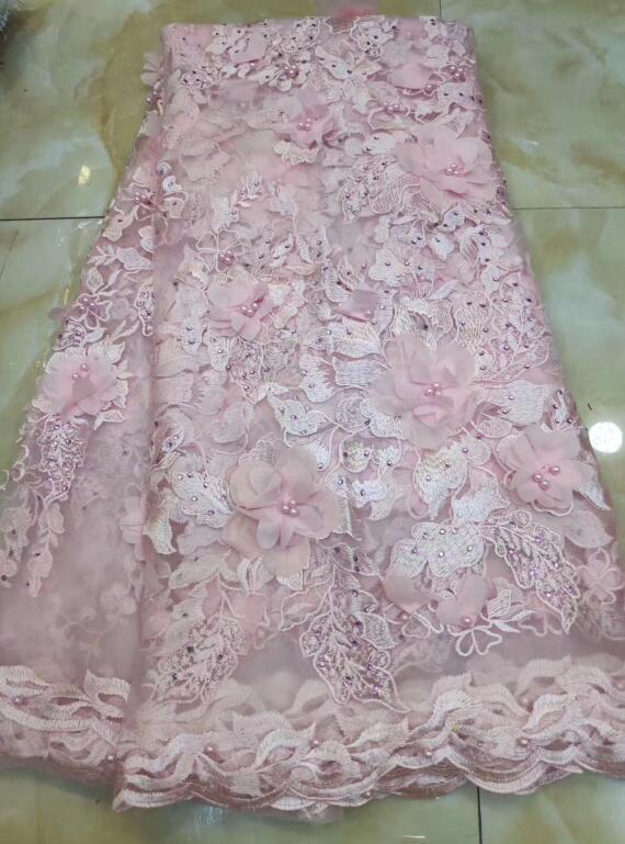 good looking 3d flower JIANXI.C-119518 embroidered French Tulle Lace Fabric for bridal dress