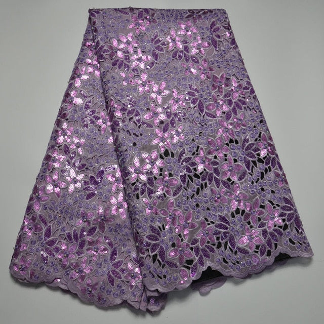 high fashion Purple turkish sequins embroidery design african organza lace fabric wholesale swiss organza lace fabric!QS247