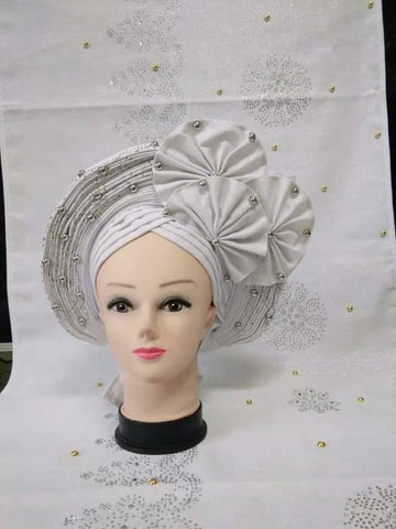 Image of hot sale tippet with headtie sky blue color African Already Make Sego Headtie Ladies Party Or Wedding Auto Gele 1 PC/bag