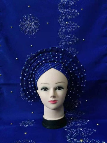 hot sale tippet with headtie sky blue color African Already Make Sego Headtie Ladies Party Or Wedding Auto Gele 1 PC/bag