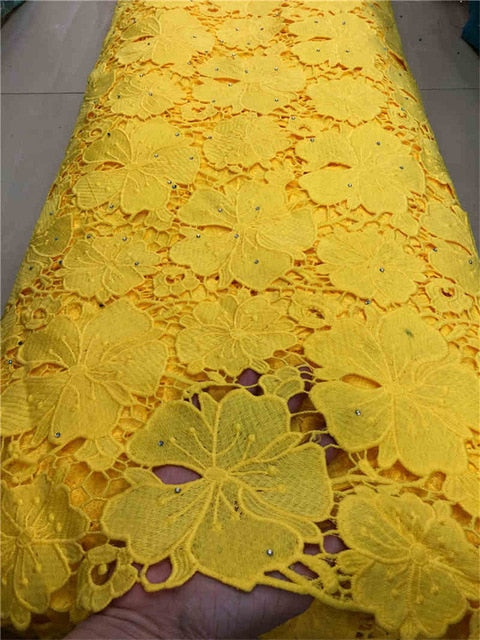 hot sales high quality latest African Guipure cord Lace With stones Fabric For Nigerian 2019Party Dresses Win521l Yellow