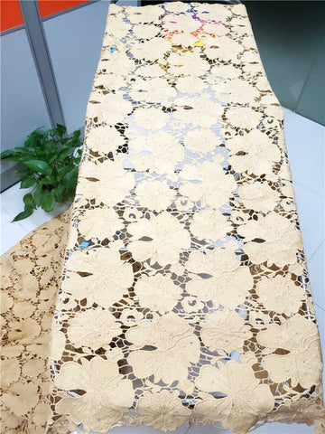 Image of hot sales high quality latest African Guipure cord Lace With stones Fabric For Nigerian 2019Party Dresses Win521l Yellow