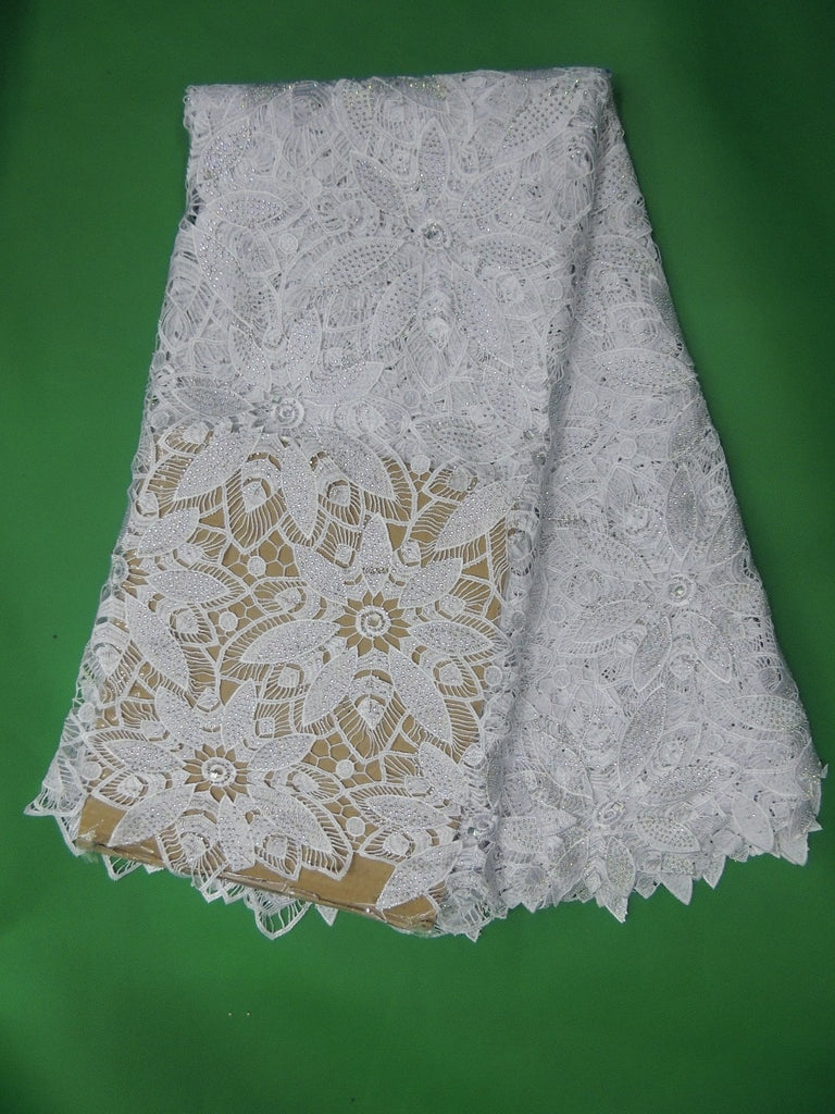 new arrival cord lace fabric for wedding dress!African guipure lace fabric with stones dress free shipping! white A503(1)-3