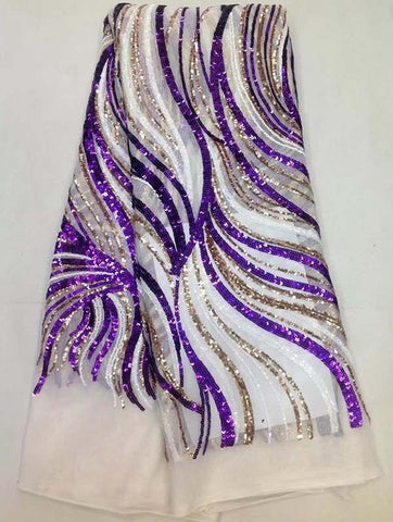 Image of new fashion African net lace with sequins,top quality embroidered French lace fabric for party dress!