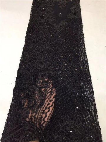Image of newcoming luxury beads tube beautiful african net tulle lace fabric 5yards mesh lace fabric for occasion dress     ZXNO224