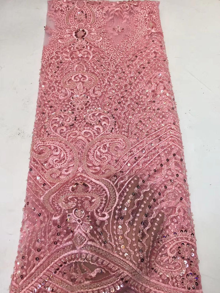 newcoming luxury beads tube beautiful african net tulle lace fabric 5yards mesh lace fabric for occasion dress     ZXNO224