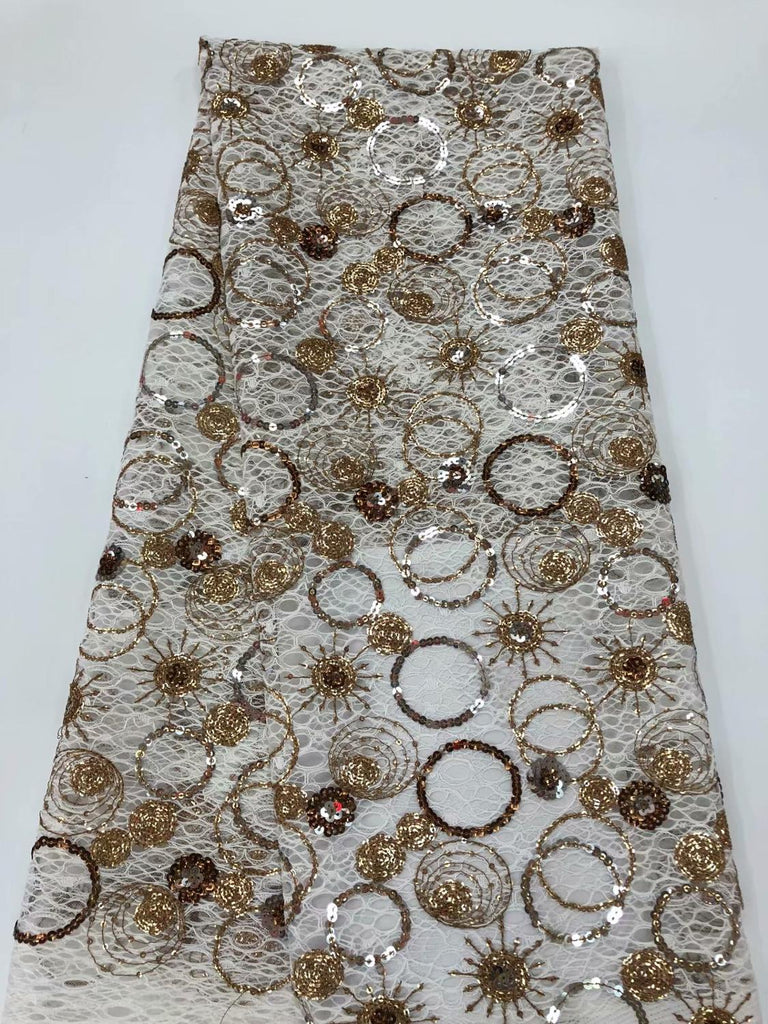 newest style 2020 Small universe organza lace fabric 5yards sequins mesh lace fabric for dress sewing     RFNO232