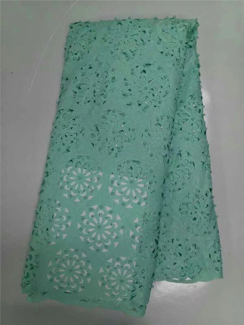 African lace fabric 5yds/pce 100% cotton material with pearls and stone for women dress 2017 new design laser cut fabrics kc-001