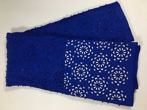 Image of African lace fabric 5yds/pce 100% cotton material with pearls and stone for women dress 2017 new design laser cut fabrics kc-001
