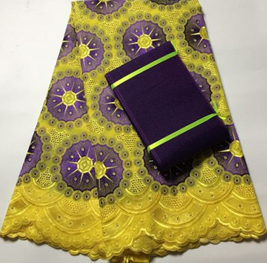 Image of Top Quality 5yards 100% Cotton Guipure Lace Fabric, Yellow African Lace Fabric With Aso Oke Gele for party wedding CAX022