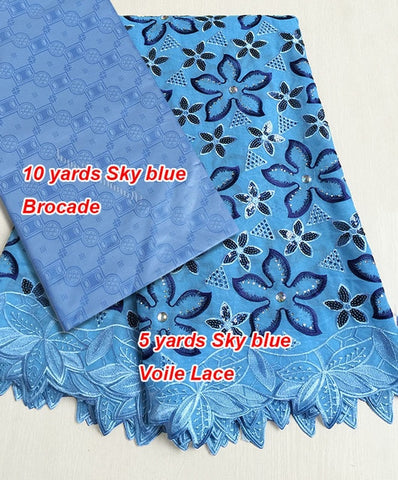 Image of Combination of couple 5 yards African French lace guipure lace fabric for wife 10 yards Brocade Bazin Riche fabric for Husband