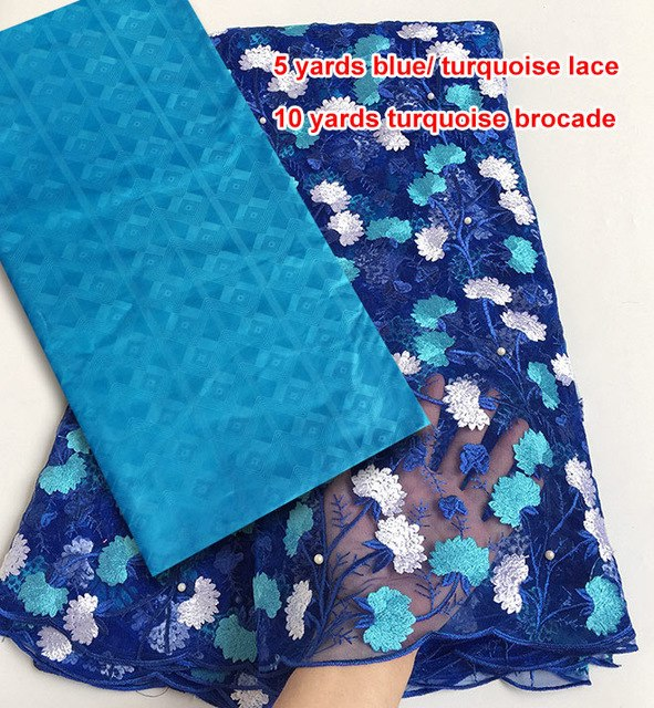 Combination of couple 5 yards African French lace guipure lace fabric for wife 10 yards Brocade Bazin Riche fabric for Husband