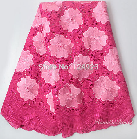 Image of Fushia pink 5 yards Swiss voile lace African lace fabric for traditional sewing fashionable for all occasions 9113