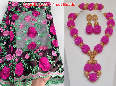 Image of 5 yards french lace African Swiss lace tulle fabric matching Beads Jewelry set sold together
