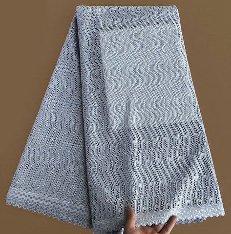 Image of High grade pure grey African Swiss Lace fabric sewing voile lace 100% cotton with Allover eyelet holes Soft Unique 5 yards/PC
