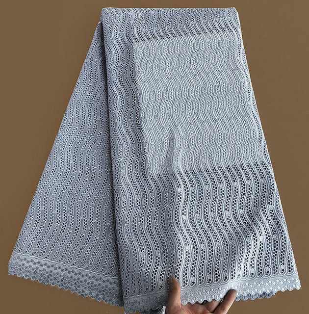High grade pure grey African Swiss Lace fabric sewing voile lace 100% cotton with Allover eyelet holes Soft Unique 5 yards/PC