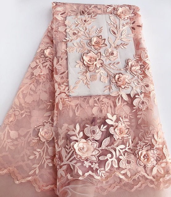 Onion Classic french lace Solid tulle lace African Swiss fabric with 3D applique flower beads sequins Perfect Quality