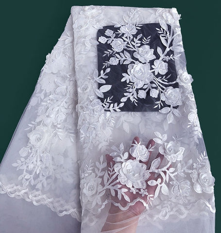 Image of Onion Classic french lace Solid tulle lace African Swiss fabric with 3D applique flower beads sequins Perfect Quality