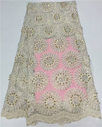 Image of Nigerian Lace Fabric 2018 High Quality Lace African Tulle Lace With Stones, Nigerian French Latest African Lace 2018 AMY485B-A