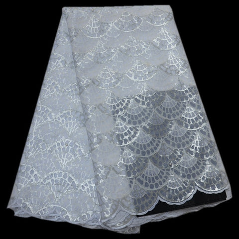 Image of High Quality African Lace Fabric 2018 Latest Organza Lace Fabric With Sequins Embroidered Nigerian Lace Fabric For Party QA463