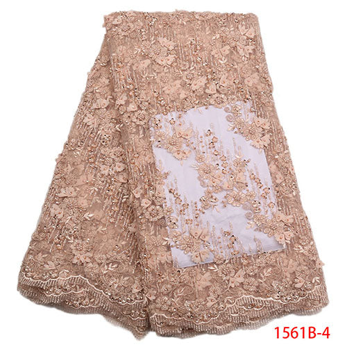 Latest African French Lace Fabrics High Quality Bridal 3d Lace Embroidery 2018 Nigerian Net Lace Fabrics For Wedding XY1561B-1
