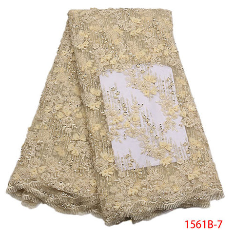 Image of Latest African French Lace Fabrics High Quality Bridal 3d Lace Embroidery 2018 Nigerian Net Lace Fabrics For Wedding XY1561B-1